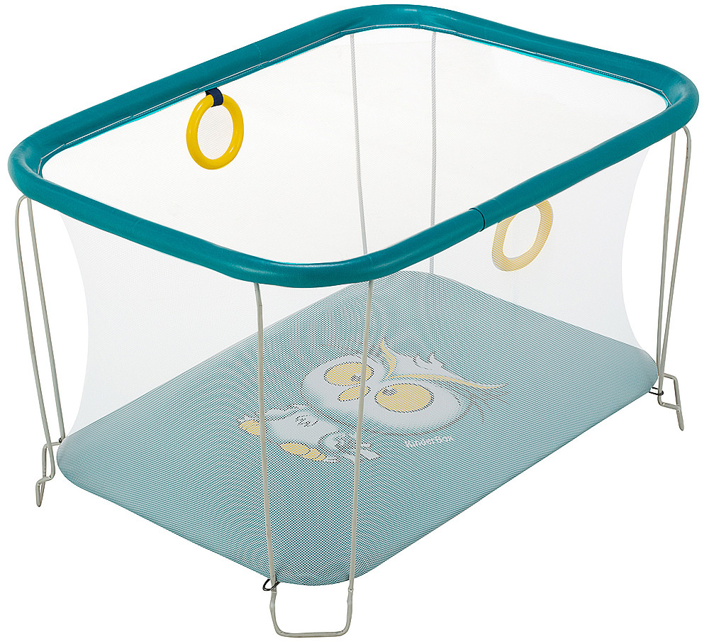 Манеж детский игровой KinderBox солнышко Бирюзовый сова с мелкой сеткой (SUN 37718)