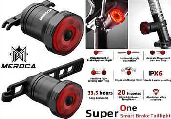 MEROCA Upgread SUPER ONE Велосипедный Фонарь+Датчик торможения и света +2 Крепежа (USB SMART BRAKE TAILLIGHT)