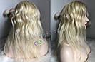 💎Натуральный женский парик блонд без чёлки (имитация кожи головы) 💎, фото 2