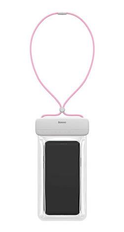 """Чехол-сумка водонепроницаемая для телефона Baseus Let's go 7.2"""" Белый/ Розовый (ACFSD-D24), фото 2"""