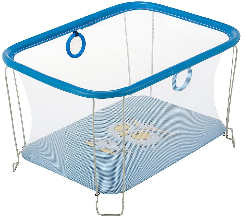 Манеж дитячий ігровий KinderBox сонечко Темно-блакитний сова з дрібною сіткою (SUN 956201)