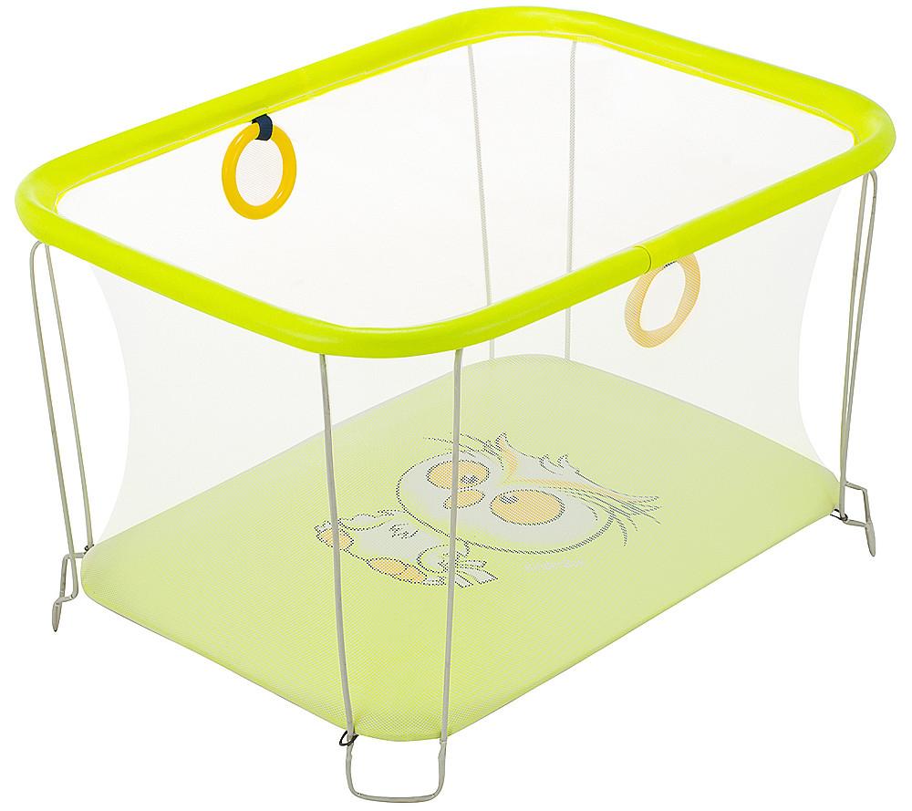 Детский манеж игровой KinderBox солнышко Желтый сова с мелкой сеткой (SUN 44302)