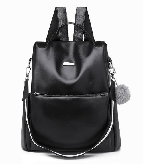 Рюкзак-сумка жіночий чорний екошкіра