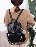 Рюкзак-сумка жіночий чорний екошкіра, фото 2