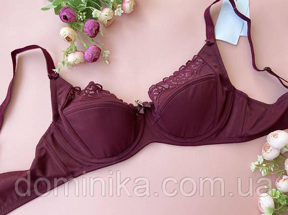 90D Бюстгальтер для настоящей женщины на большую грудь, красивый лифчик на косточках с элементами ажура, фото 2