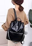 Рюкзак-сумка жіночий чорний екошкіра, фото 4