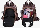 Рюкзак-сумка жіночий чорний екошкіра, фото 5