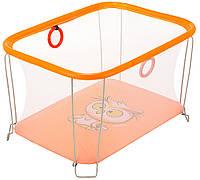Манеж детский игровой KinderBox солнышко Оранжевый сова с мелкой сеткой (SUN 50998)