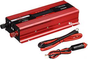 Перетворювач UKC авто інвертор 12В-220В 2000W LCD KC-2000D + USB Red