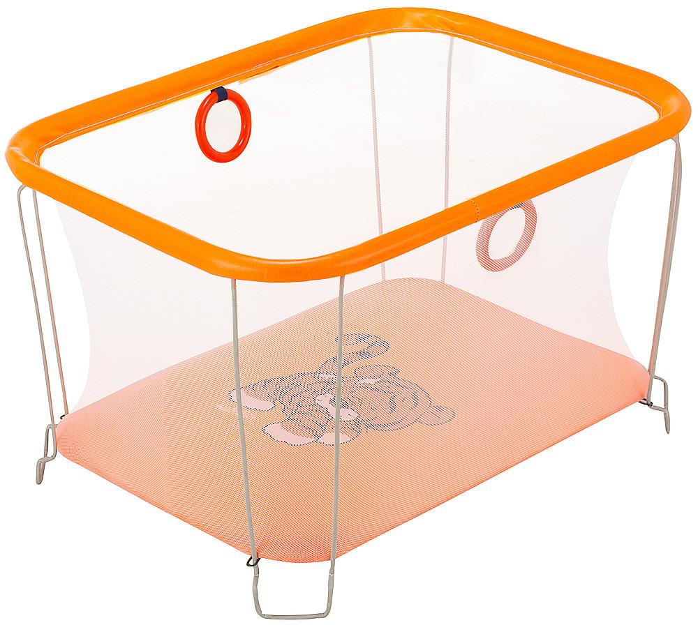 Манеж дитячий ігровий KinderBox сонечко Помаранчевий тигреня з дрібною сіткою (SUN 2030997)