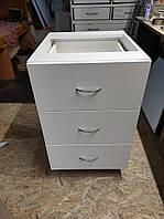 Тумбочка кухонная 40 см с ящиками белая