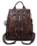 Рюкзак-сумка жіночий коричневий екошкіра, фото 2