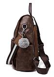 Рюкзак-сумка жіночий коричневий екошкіра, фото 3