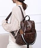 Рюкзак-сумка жіночий коричневий екошкіра, фото 5