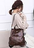 Рюкзак-сумка жіночий коричневий екошкіра, фото 6