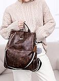 Рюкзак-сумка жіночий коричневий екошкіра, фото 7