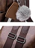 Рюкзак-сумка жіночий коричневий екошкіра, фото 8