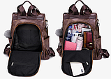 Рюкзак-сумка жіночий коричневий екошкіра, фото 9