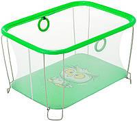 Детский манеж игровой KinderBoxс солнышко Зеленый сова с мелкой сеткой (SUN 583634)