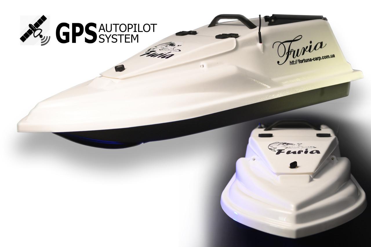 GPS (8+1) Прикормочний кораблик Фурія Шторм Біла