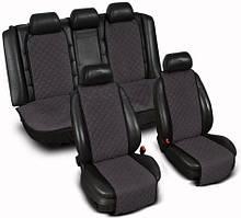 """Накидки на сиденье """"Эко-замша"""" узкие (комплект) без лого, цвет темно-серый"""