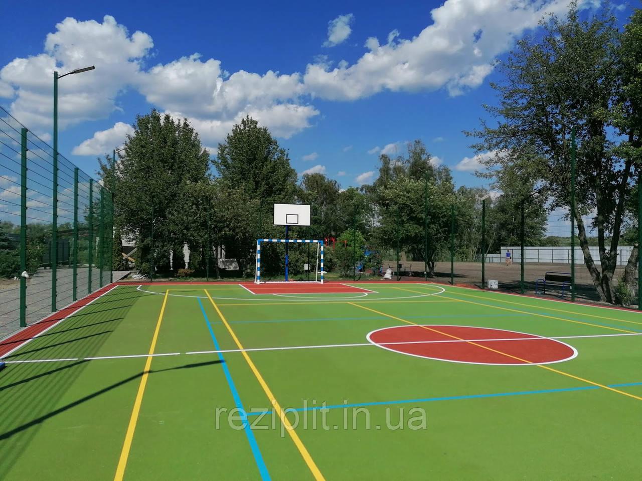Покрытие для спортивных площадок. Полиуретан + резиновая крошка, 10 мм