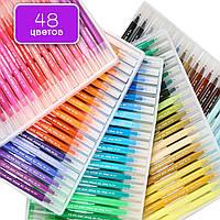 Большой набор маркеры для скетчинга с кистью 48 цветов, двусторонние маркеры на водной основе для художников