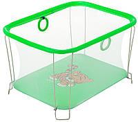 Манеж детский игровой KinderBox солнышко Зеленый тигренок с мелкой сеткой (SUN 48201112)