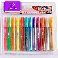 Флуоресцентные маркеры, набор тонких водостойких перламутровых маркеров 12 цветов, для скрапбукинга, декупажа