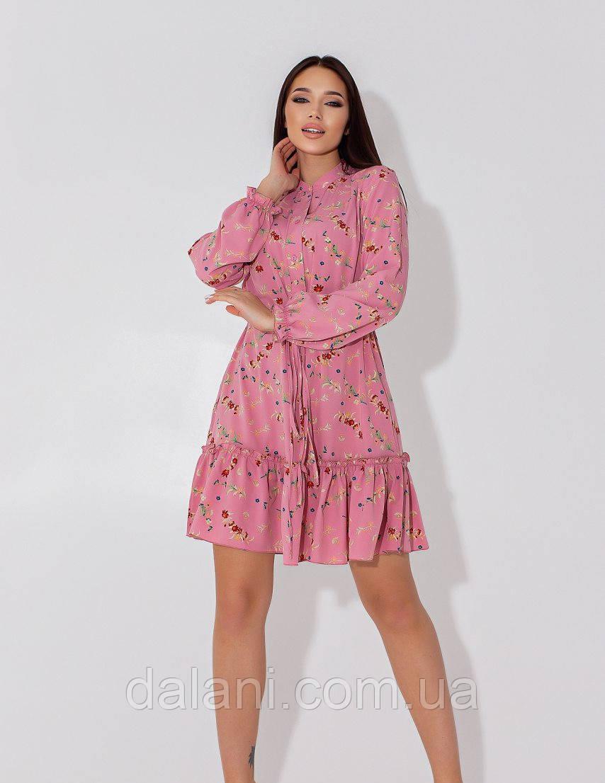 Жіноче рожеве коротке плаття-рубашка з квітковим принтом