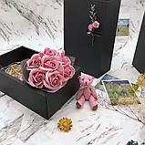 Подарунковий набір: троянди з мила ручної роботи з іграшкою, фото 2