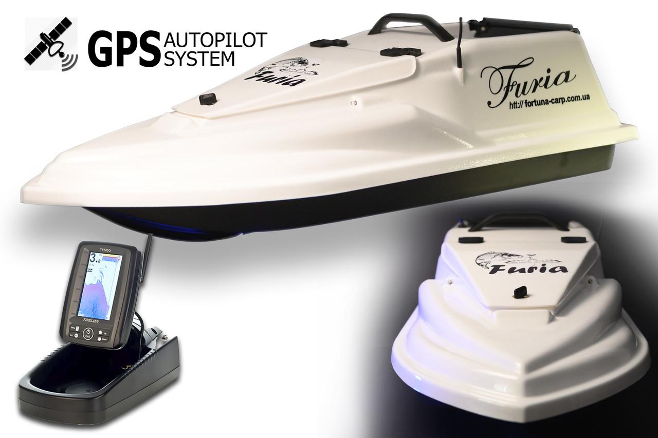 GPS (8+1) Ехолот Toslon TF500 Прикормочний кораблик Фурія Шторм Біла