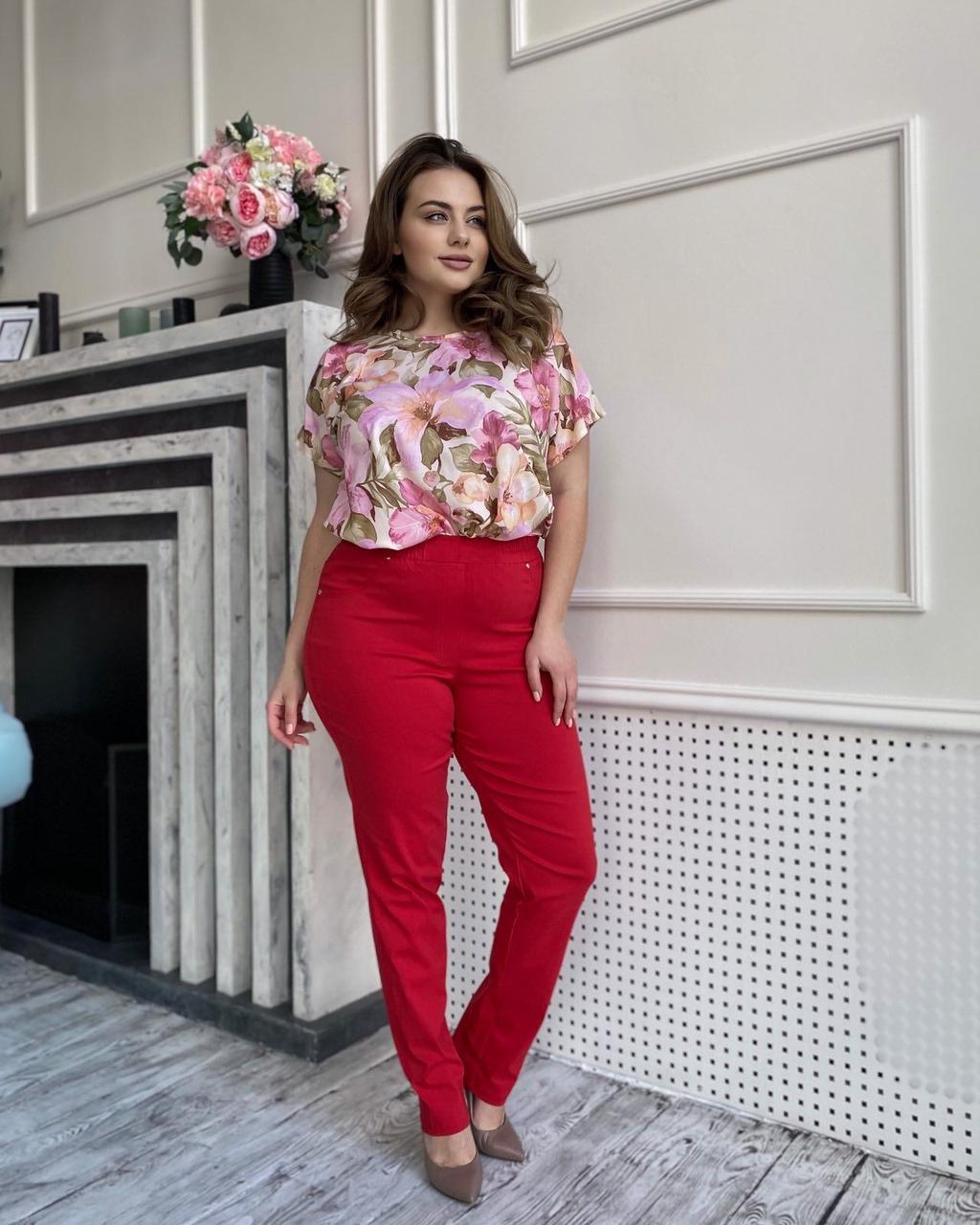 Штани жіночі, колір: Червоний, розмір: 50-52, 54-56, 58-60, 62-64, 66-68