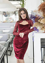 Облегающее женское бархатное платье со вставками из кружева (р.42-48)