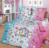Детское постельное белье Единорожки, поплин