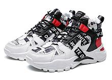 Кроссовки красно-белые в стиле off-white