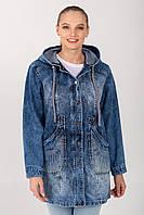 Джинсовая куртка с карманами большие размеры на молнии с капюшоном размер 50-56