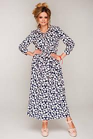 Красивое яркое платье макси с длинным рукавом и кулисой размер 44-50