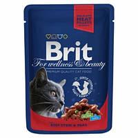 Консервы Brit Premium Cat Pouch тушеная говядина и горошек,  для кошек, 100г