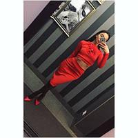 Шикарны костюм с цветком юбка+кофточка (черный, красный)