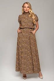 Шикарное платье леопардовый принт макси с коротким рукавом размер 48,50