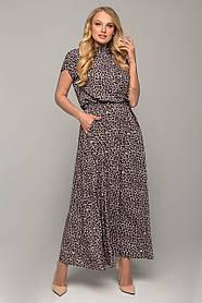 Смелое макси-платье леопардовый принт с коротким рукавом и карманами размер 48,50