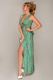 Платье длинное в пол без рукавов на запАх с декольте и разрезом размер 48,50