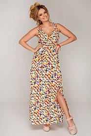 Яркое летнее платье-сарафан длинное в пол без рукавов на запАх с декольте и разрезом размер 48,50