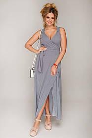 Летнее платье-сарафан длинное в пол без рукавов на запАх с декольте и разрезом размер 48,50