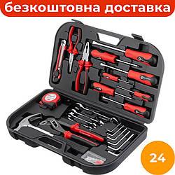 Комбинированный набор инструментов 24 ед. INTERTOOL ET-6001, компактный набор слесарного инструмента для дома