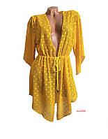Модный летний женский гипюровый халатик-туника для пляжа, пляжная накидка-парео