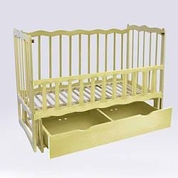 Кроватка деревянная маятник с шухлядой и откидным бортиком Волна - Ольха Слоновая кость 78131, КОД: 2395004