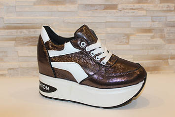Сникерсы кроссовки женские темно-серебристые с белыми вставками Т1308