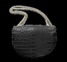 Жіноча шкіряна невелика сумка з тисненням під крокодила чорна